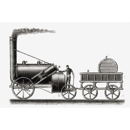 The Rocket Steam Engine Partially Designed By English Engineer George Stephenson 1781-1848 From Nuestro Siglo Published Barcelona 1883 Stretched Canvas - Ken Welsh  Design Pics (18 x