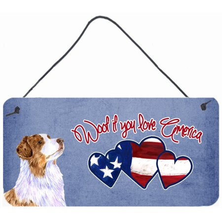 Woof if you love America Australian Shepherd Wall or Door Hanging Prints