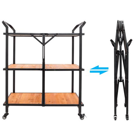 Ktaxon 3-Tier Tray Trim Serving Wine Tea Dining Folding Kitchen Cart Iron & Wood ()