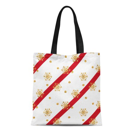 SIDONKU Canvas Tote Bag Christmas Gold Snowflake Golden Snowflakes on Red and White Reusable Shoulder Grocery Shopping Bags Handbag