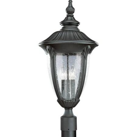 - Progress Lighting P5420 Meridian Three-Light Cast Aluminum Post Lantern with Clear Seeded Glass Shade