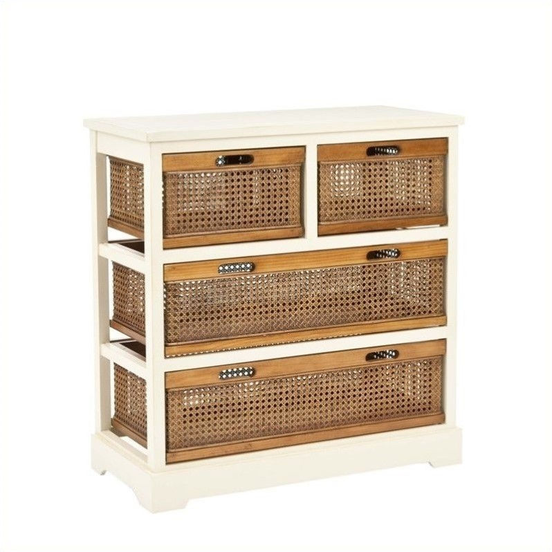Safavieh Willow Pine 4 Drawer Storage Cabinet In White