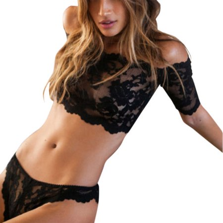 Womens Lace Sheer Floral Bra Lingerie Nightwear Underwear Sleepwear G-string Crop Top Set