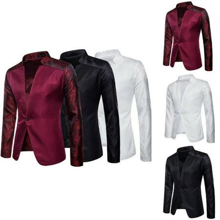 Men's Casual Slim Fit One Button Suit Blazer Business Work Coat Jacket Outwear (Business Coat Men)