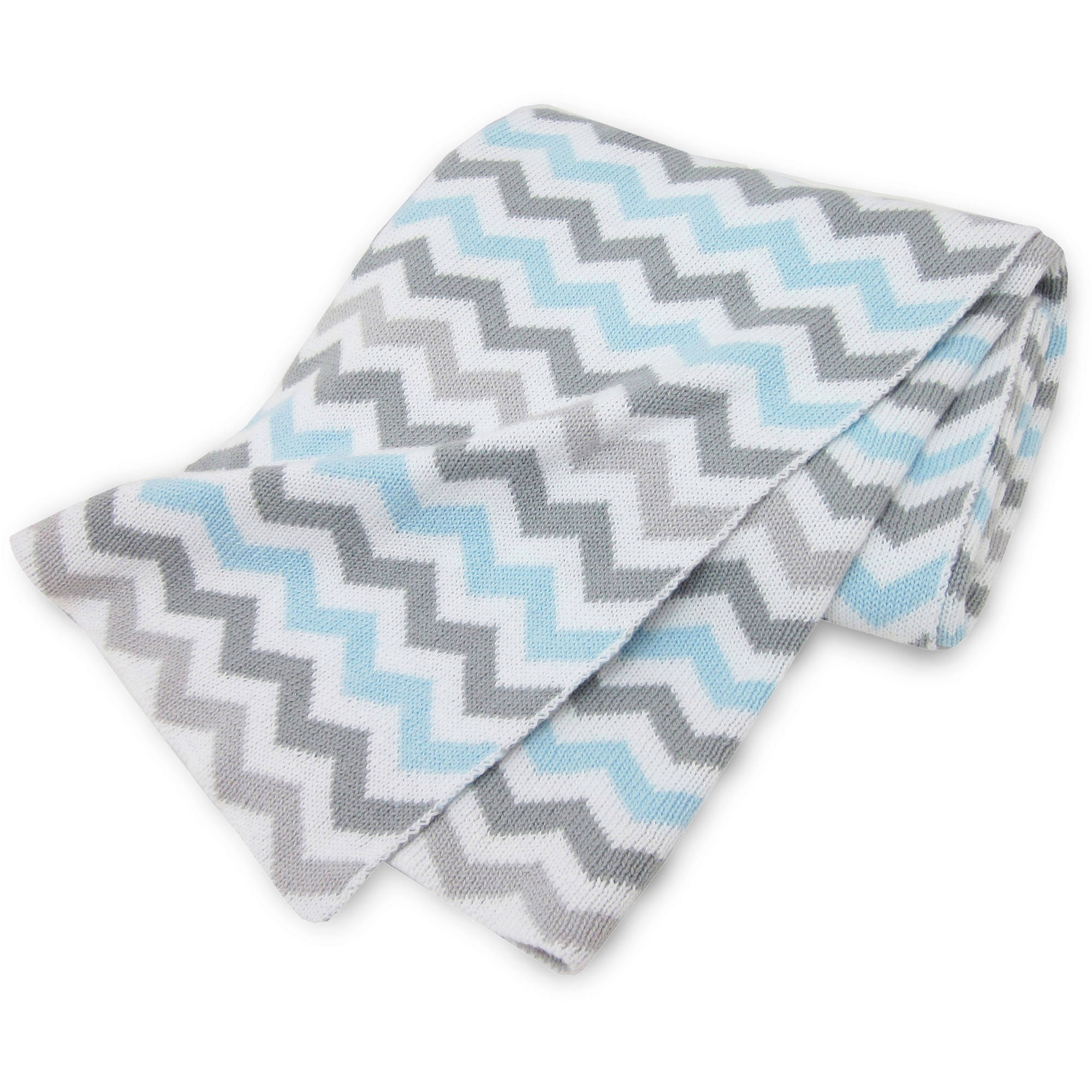 American Baby Company 100 Percent Cotton Sweater Knit Blanket, Blue and Gray Zigzag