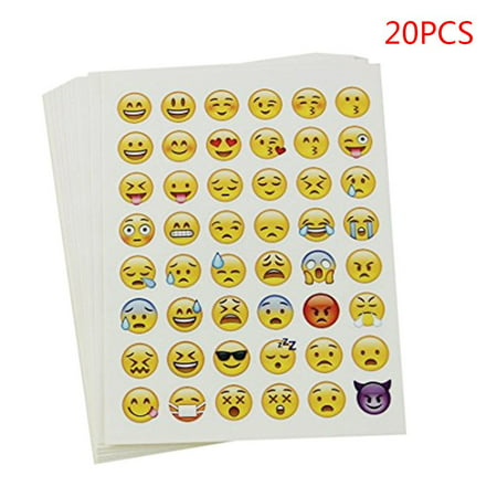 JOYFEEL 20pcs 48 Emoji Sticker Pack Die Cut Stickers Decal Multi-purpose Decor Funny Smiley for Kids