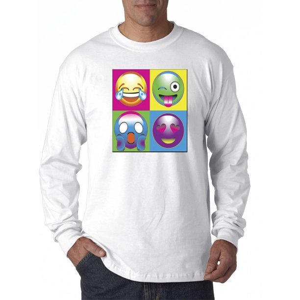 341 - Unisex Long-Sleeve T-Shirt Emoji Faces Boxed Multi-Color Lol Shocked Love