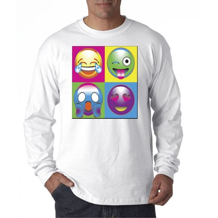 New Way 341   Unisex Long Sleeve T Shirt Emoji Faces Boxed Multi Color Lol Shocked Love