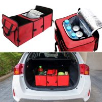 3 Section Car Trunk Storage Organizer Collapsible Cargo Storage Box with Insulated Cooler Compartment Multipurpose for Vehicle Car SUV Trunk