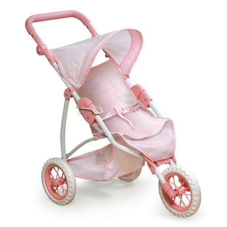 Badger Basket Folding Three Wheel Doll Jogging Stroller - Pink/Gingham - Fits American Girl, My Life As & Most 18