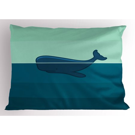 Whale Pillow Sham Big Blue Whale Half of it Swimming on the top of Ocean Sea Life Image, Decorative Standard Size Printed Pillowcase, 26 X 20 Inches, Pale Blue and Dark Blue, by Ambesonne