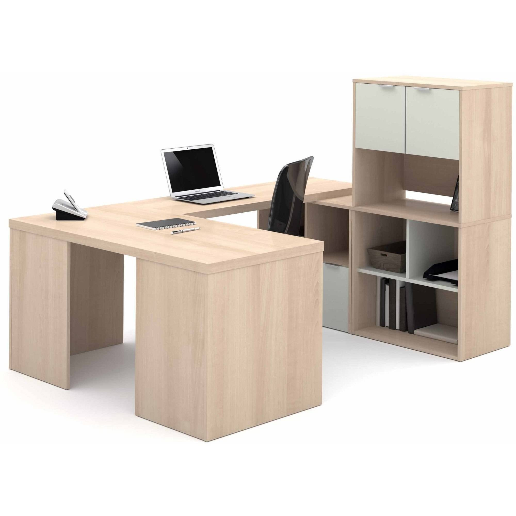 88.5 in. U-Shaped Desk in Northern Maple and Sandstone Finish