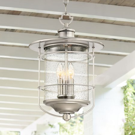 Franklin Iron Works Outdoor Light Hanging Lantern Brushed Nickel Damp Rated 19 Clear Seedy Gl For Porch Patio
