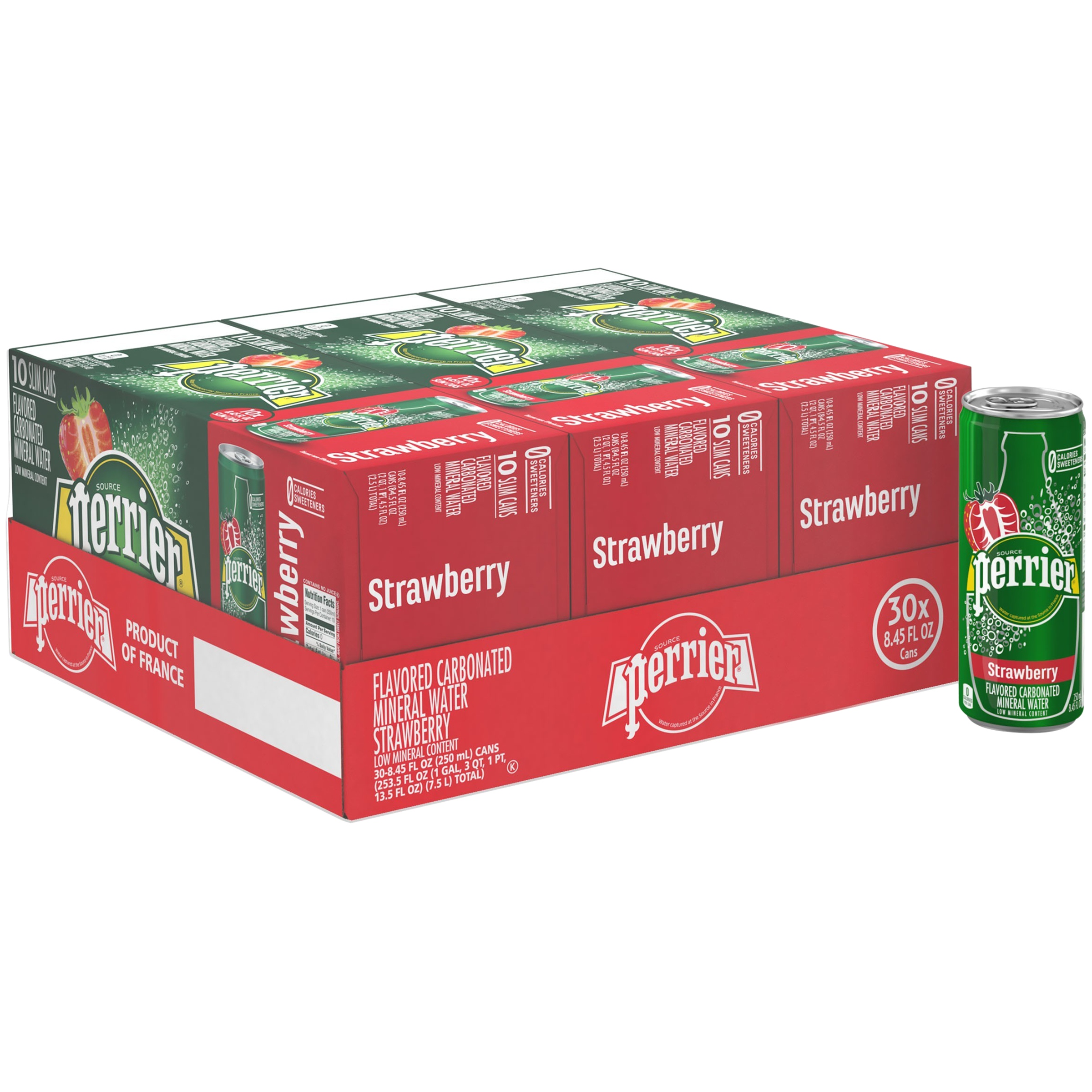 (30 Cans) PERRIER Strawberry Flavored Carbonated Mineral Water, 8.45 Fl Oz