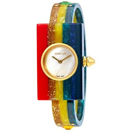 Gucci Women's Plexiglass Champage Skeleton Bangle 24mm Watch YA143520