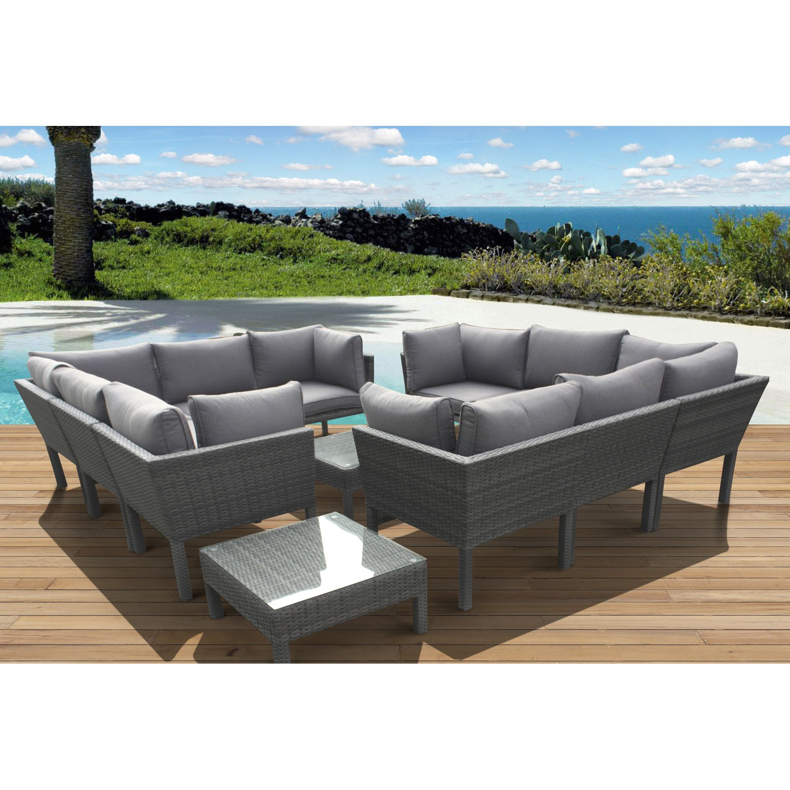 Atlantic St. James All-Weather Wicker Sectional Set - Seats 10