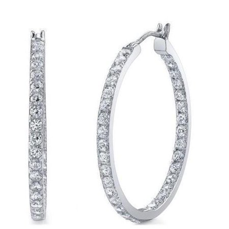 Harry Chad Enterprises 29030 4.10 CT White Gold Round Cut Sparkling Diamonds Hoop Earrings - image 1 of 1