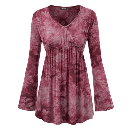 MBJ WT1160 Womens Tie-Dye Long sleeve Empire Waist Line Tunic Top XXL WINE