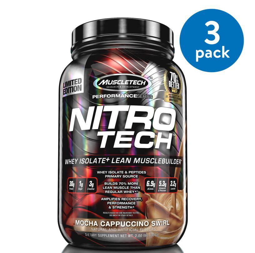(3 Pack) MuscleTech Nitro Tech Protein Powder, Mocha Cappuccino Swirl, 2 Lb