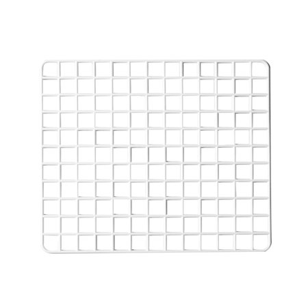 White Grid (Unique Bargains Unique Bargains White Plastic Grid Design Bowl Plate Cup Dry Draining Board Holder)