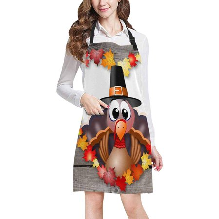 ASHLEIGH Happy Thanksgiving Turkey with Maples in Wood Home Kitchen Apron for Women Men with Pockets, Unisex Adjustable Bib Apron for Cooking Baking