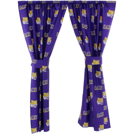 "LSU Tigers 100% Cotton, 63"" Curtain Panels, Set of 2"