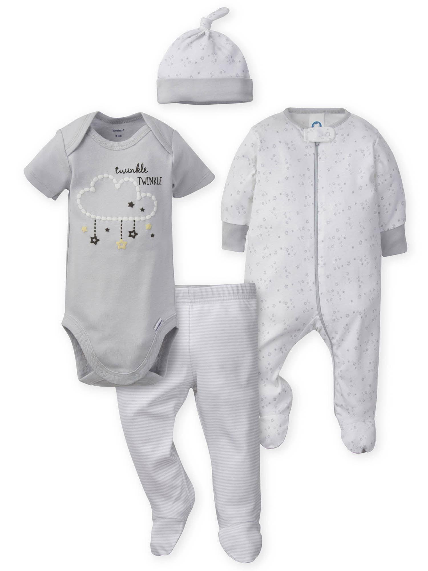 Pant and Cap GERBER Baby Boys 4-Piece Sleep N Play Onesies