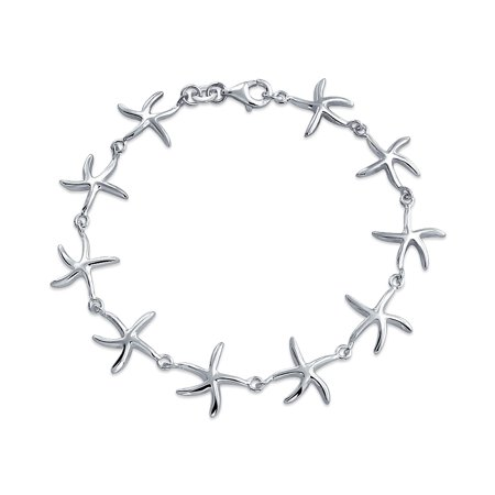 Nautical Sea life Tropical Beach Charm Starfish Bracelet For Teen For Women 925 Sterling Silver Small Wrist 6.5