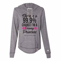 "Funny Women's Disney Champion Hoodie ""There's A 99.9 Chance I'm A Disney Princess"" Light Weight Sweatshirt X-Large, Pink"