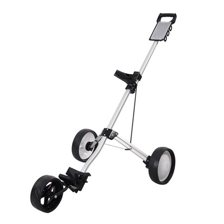 Costway Foldable 3 Wheel Push Pull Golf Cart Trolley Three Wheels Swivel Folding