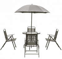 GHP Set of 6 Deep Gray Steel & Tempered Glass Table w 4-Pcs Folding Chairs & Umbrella