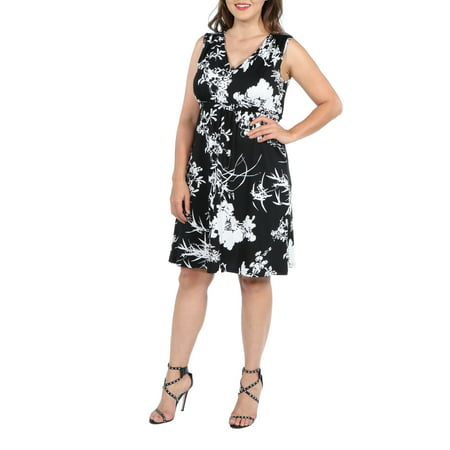 24Seven Comfort Apparel Marilyn Black and White Sleeveless Plus Size Dress for $<!---->