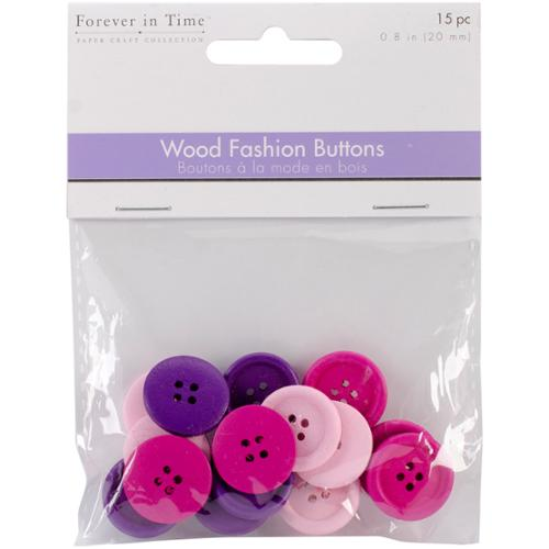 Wood Fashion Buttons 20mm 15/Pkg-Chic
