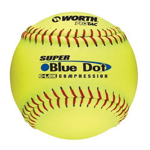 Worth 12 in. Super Blue Dot Slowpitch Softballs - 1 Dozen
