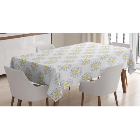 Black And Yellow Tablecloth Thunderbolts With Sunburst Effect Retro Comic Book Hipster Icon Pattern