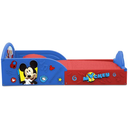 Disney Mickey Mouse 5-Piece Toddler Bedroom Set by Delta Children - Includes Toddler Bed, Table & Ottoman Set, Multi-Bin Toy Organizer
