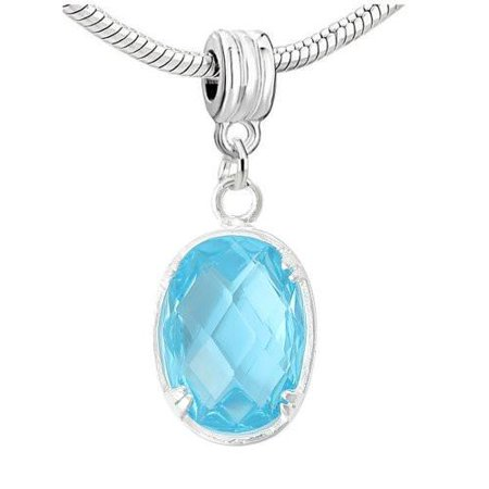 Oval Sparkly Cubic Zircon March Birthstone Dangling Charm European Bead Compatible for Most European Snake Chain Bracelet