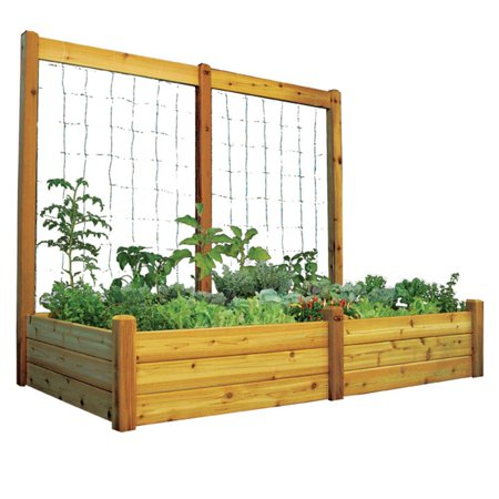 Gronomics 48L x 95W x 19H in. in. Raised Garden Bed with Trellis Kit
