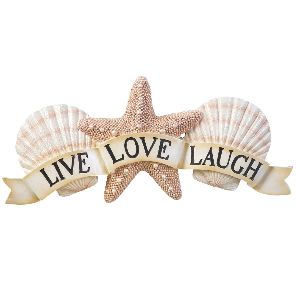 Inspirational Live Laugh Love Coastal Seashell Wall Art, Beige