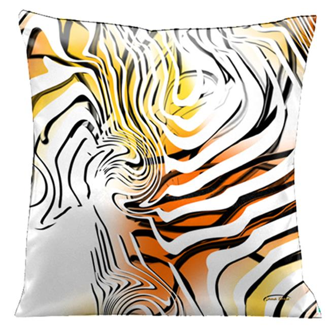 Lama Kasso 45 Stunning Yellow, Orange and White with Black and White Graphics, 18 in. Square Satin Pillow