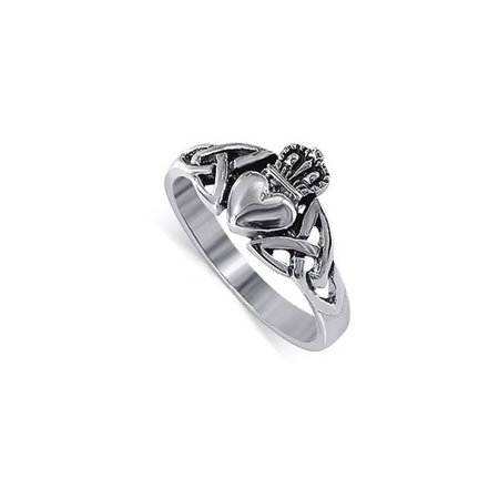 - Gem Avenue 925 Sterling Silver Irish Celtic Knot Claddagh Ring