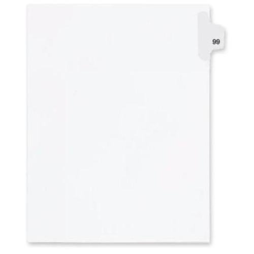 "Kleer-Fax Legal Exhibit Numbered Index Dividers - Printed Tab(s) - Digit - 78 - 8.5"" Divider Width x 11"" Divider Length - Letter - White Divider - 25 / Pack"