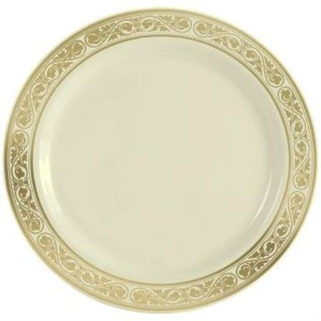 Simcha Royalty Plastic Luncheon Plates 9 Inch Gold Trim