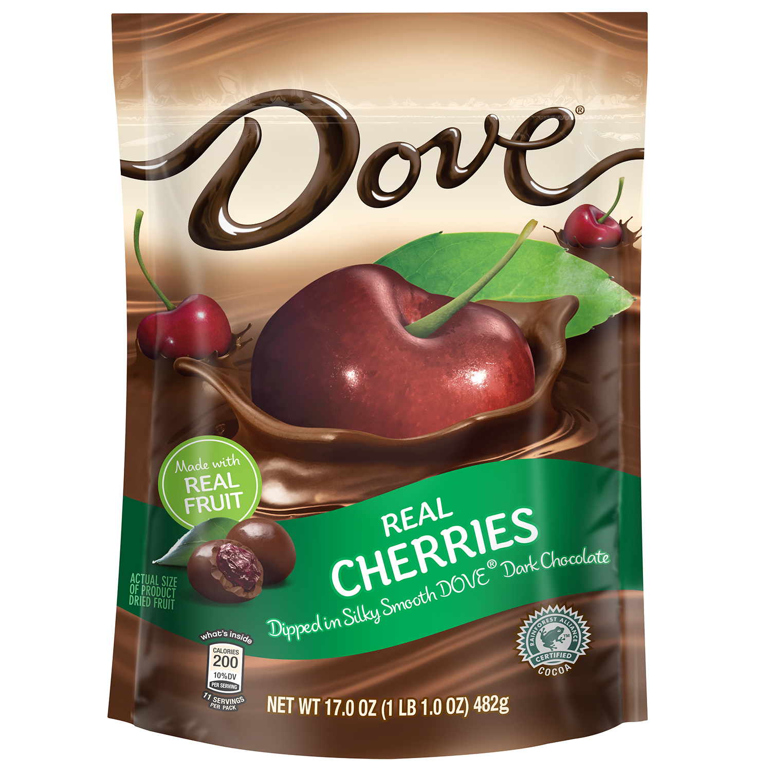 Dove Fruit Real Cherries with Dark Chocolate, 17.0 oz