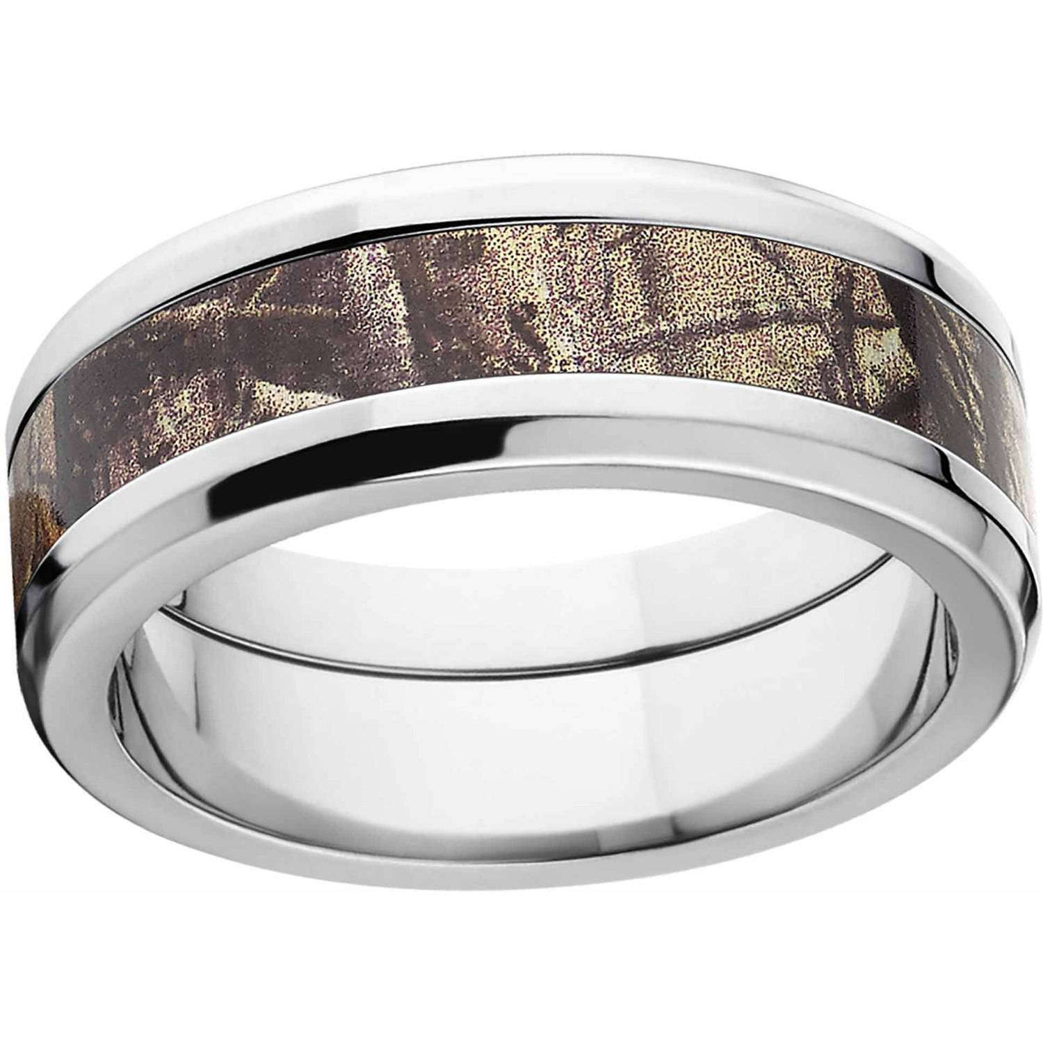 Realtree AP Men's Camo 8mm Stainless Steel Wedding Band with Polished Edges and Deluxe Comfort Fit