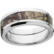 AP Men's Camo 8mm Stainless Steel Wedding Band with Polished Edges and Deluxe Comfort Fit