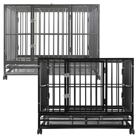 SmithBuilt Heavy-Duty Dog Crate Cage - Two-Door Indoor Outdoor Pet & Animal Kennel with Tray - Various Sizes &