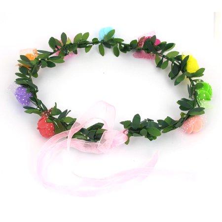 Lady Party Flower Decor Adjustable Headdress Hair Crown Wreath Multicolor - image 1 de 3