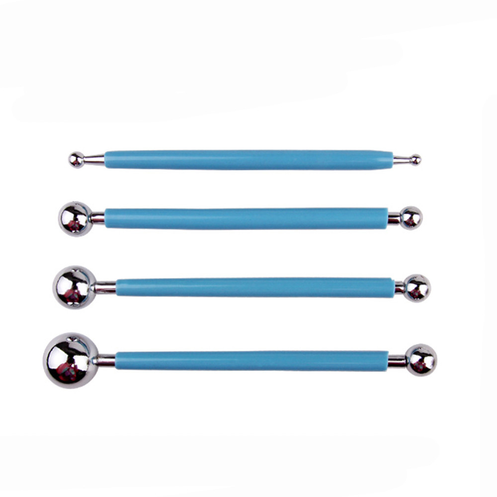4 Piece Ball Stylus Dotting Modeling Tools Clay Ceramics Pottery Carving Tool Embossing Sculpting Set