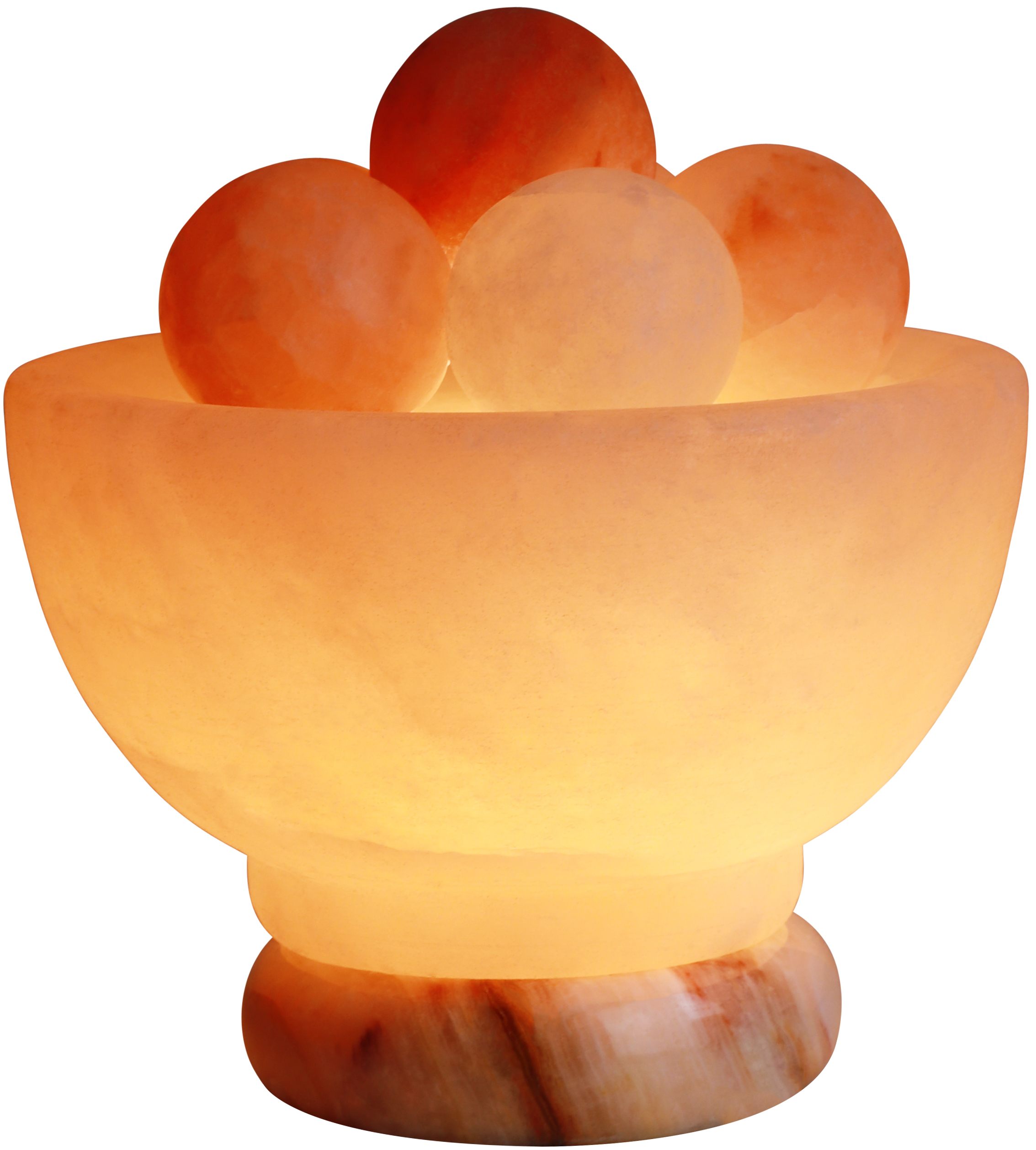 Massagers Spa Collection Himalayan Rock Salt Crystal Balls Healing Lamp, 7 Inch Diameter - Soft Calm Therapeutic Light - Handcrafted Salt Crystal Bowl w/6 Healing Balls - Table Lamp, Dark Orange Hue